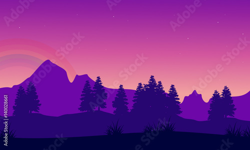 Foto op Canvas Violet Silhouette of mountain with tree landscape