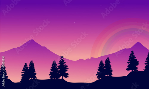 Foto op Canvas Violet Mountain with rainbow landscape silhouettes style
