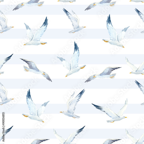 Watercolor seagull pattern - 140036813