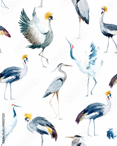 Watercolor vector african crane pattern - 140037225