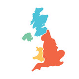 United Kingdom, aka UK, of Great Britain and Northern Ireland hand-drawn blank map. Divided to four countries in different colors - England, Wales, Scotland and NI. Simple flat vector illustration. - 140043628