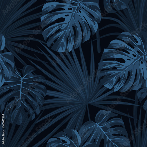 Dark blue denim floral pattern with exotic plants and monstera palm leaves. Vector seamless tropical fabric design. - 140047205