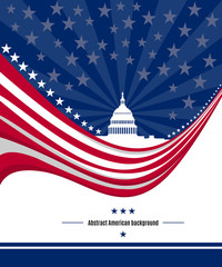 Patriotic American background with abstract USA flag and White house and Capitol building Washington DC symbol. Vector illustration © karachenkov