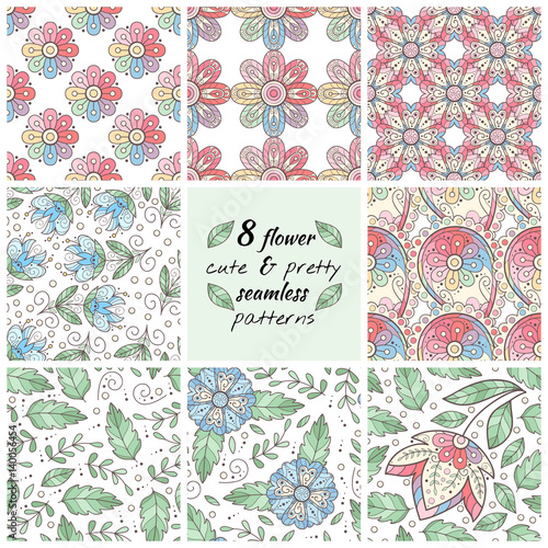 Set of 8 flower seamless patterns. - 140056454