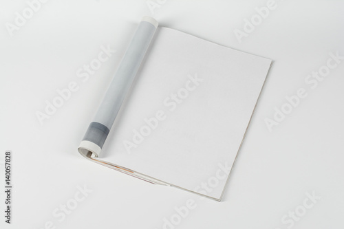 Mock-up magazine or catalog on white table Poster