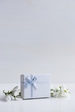 Beautiful white snowdrops with gift box on white wooden background