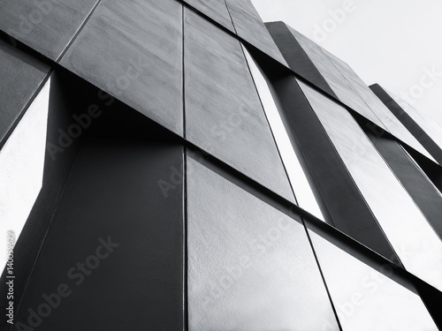 Fridge magnet Architecture detail Facade design Modern building Black and White