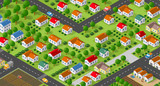 Country village district isometric illustration of a rural area with many buildings and houses, streets, trees and vehicles