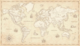 Vintage Illustrated World Map - 140070863