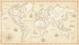 Vintage Ilustrowane Mapa Świata