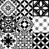 Fototapety Spanish tiles, Moroccan tiles design, seamless black pattern