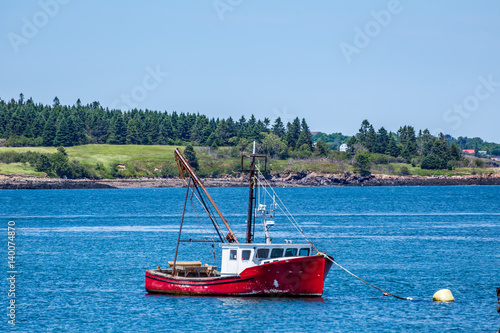 Poster Lobster Boat at Anchor