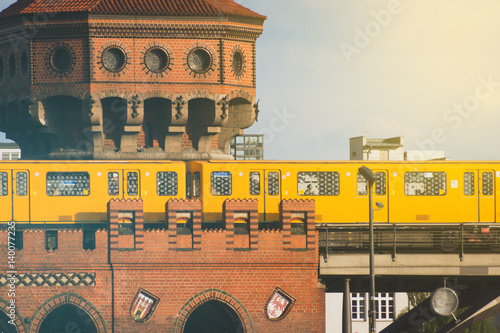 subway train on oberbaum bridge in Berlin