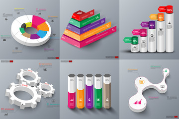 Pack of 3d paper infographic elements