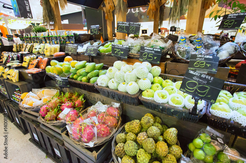 fruit stand in modern supermarket