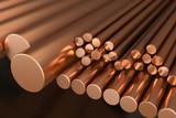 Copper metal, rods of copper. 3d illustration. - 140090800