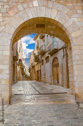 Ruelle étroite, Montblanc, Catalogne, Espagne