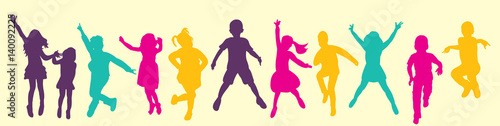 Vector, isolated, silhouette children jumping, multicolored silhouettes, childhood - 140092225