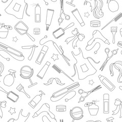 Seamless pattern on the theme of the Barber shop, the tools and accessories of the hairdresser, a simple contour icons, black contour on white background