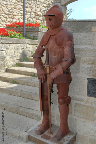 Poster Decorative old rusty Knight Armour in San Marino, Italy