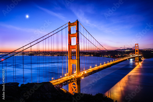 Golden Gate Bridge, San Francisco at sunrise, USA Poster