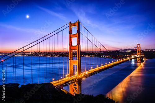 Golden Gate Bridge, San Francisco at sunrise, USA Poster