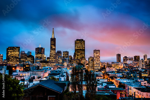 Night view of San Francisco Downtown