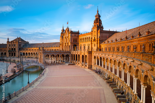 Spain Square in Maria Luisa Park at Sunset, Seville, Andalusia, Spain