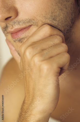 Man resting his Chin with one Hand - Three-Day Beard - Masculinity Poster