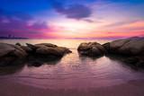 Seascape sunset beach.