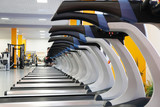 Interior of treadmills in a fitness hall