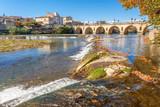 pont romain de Sommières sur le Vidourle, Gard, France