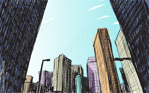 sketch city scape building in Tokyo hand draw illustration vector