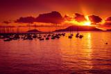 Scenic sunset above the sea in Lerici, Liguria, Italy.