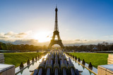 Sunrise on the Eiffel tower and Trocadero. Paris, France