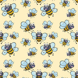 Seamless background with bee flying