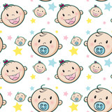 Seamless background with baby faces