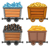 Mining objects on wooden wagon