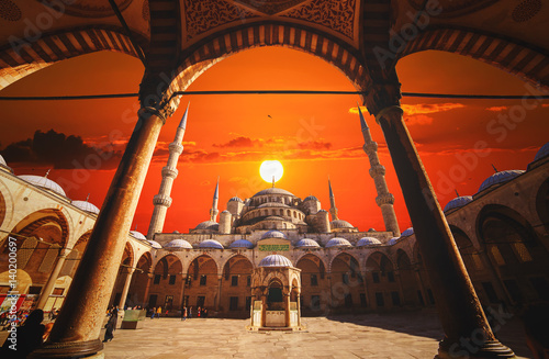 Istanbul, Turkey - March 04, 2017: View of Sultanahmet Mosque, built by Sinan the architect