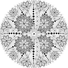 Seamless black and white background. Floral hand drawn elements for design. Good for coloring book for adults or design of wrapping and textile.