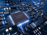 Fototapety High tech electronic PCB (Printed circuit board) with processor and microchips. 3d illustration