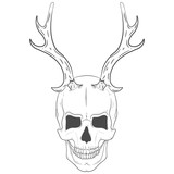 Illustration of a skull with horns. Vector print skull with antlers
