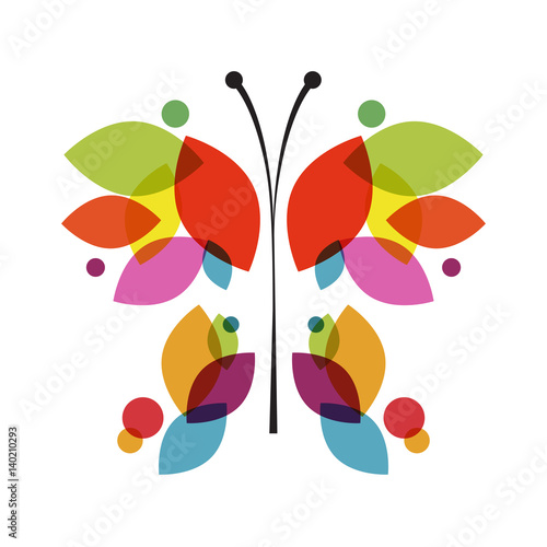 butterfly in abstract shape with colorful leaves. Vector illustration