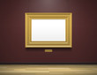 art gallery museum interior with blank golden frame
