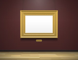 art gallery museum interior with blank golden frame - 140213049
