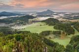 Sunset in mountain Czech Switzerland