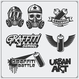 Set of graffiti school and street art labels, badges, emblems and design elements.