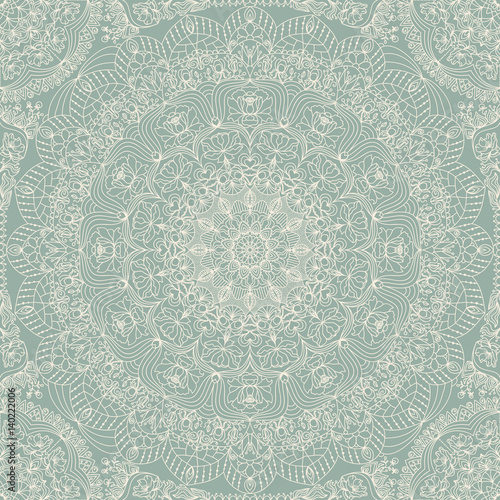 Seamless floral hand drawn pattern with mandala. - 140222006