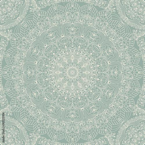 Seamless floral hand drawn pattern with mandala. - 140222006