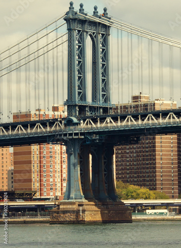 Foto op Plexiglas New York TAXI Manhattan Bridge in New York, USA